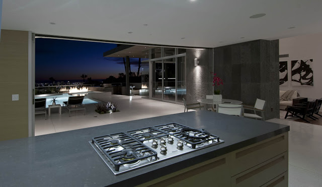 kitchen with expansive views 1734 Doheny - Cliff View Modern Home In Hollywood Hills, California by Luca Colombo