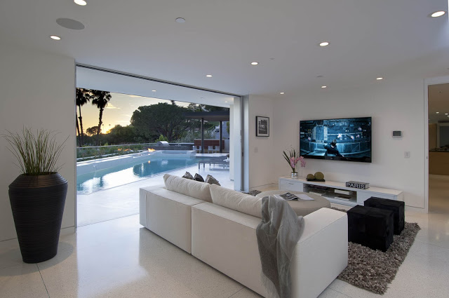 living room design 1734 Doheny - Cliff View Modern Home In Hollywood Hills, California by Luca Colombo