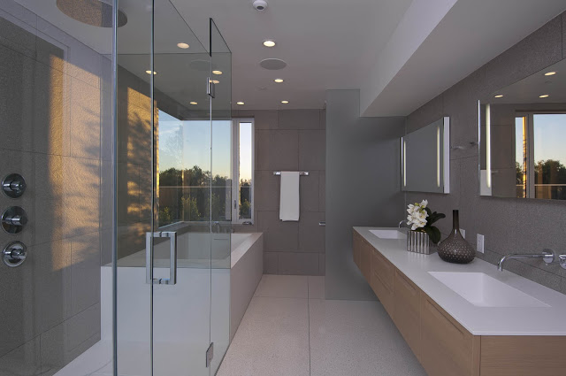 luxurious bathroom design 1734 Doheny - Cliff View Modern Home In Hollywood Hills, California by Luca Colombo