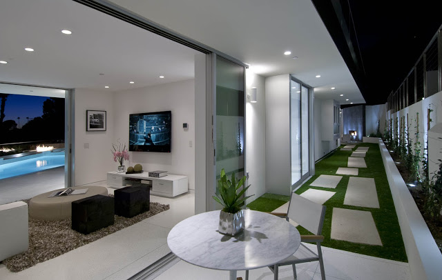 interior exterior terrace 1734 Doheny - Cliff View Modern Home In Hollywood Hills, California by Luca Colombo
