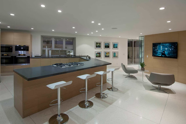 dinning area in the 1734 Doheny - Cliff View Modern Home In Hollywood Hills, California by Luca Colombo