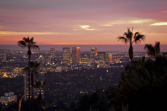 dramatic sunset 1734 Doheny - Cliff View Modern Home In Hollywood Hills, California by Luca Colombo