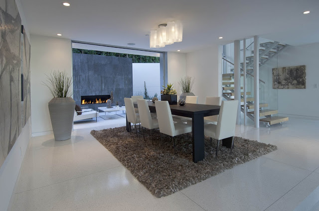 black and white dinning area 1734 Doheny - Cliff View Modern Home In Hollywood Hills, California by Luca Colombo