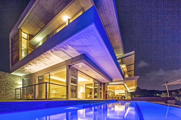Albizia House - Cliff View Modern Mansion by Metropole Architects homesthetics (1) at night