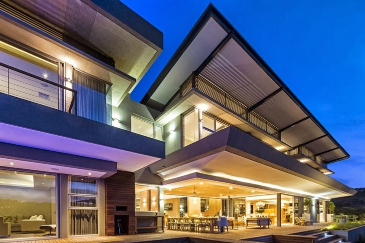 dinning area swimming pool Albizia House - Cliff View Modern Mansion by Metropole Architects homesthetics (1)