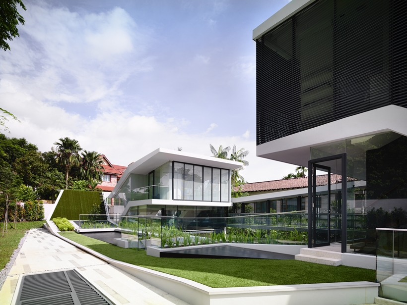 backyard lanscaping in the Andrew-Road-Residence-Futuristic-Dream-Mansion-Dream-in-Singapore-by-A-DLAB-modern-mansion