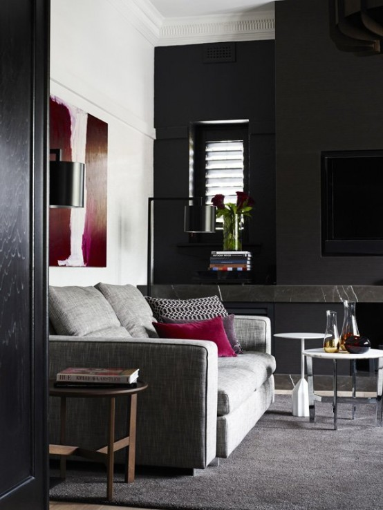 Contemporary Black Interior Design With Vibrant Accents