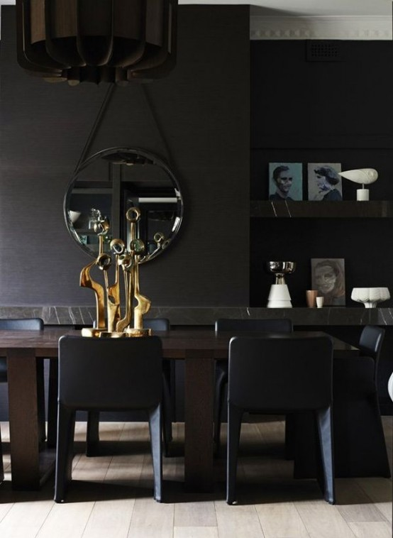 Contemporary Black Interior Design with Vibrant Accents golden table decor