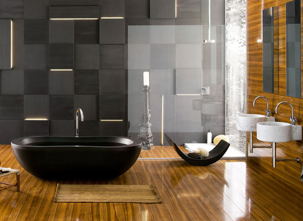 black and white with a lot of wood  Black and White Modern Bathrooms Inspired by Nature- Neutra`s Collection homesthetics (1)