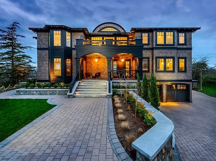 Canadian Beach Mansion Reflected in Rich Color Pallet dream home