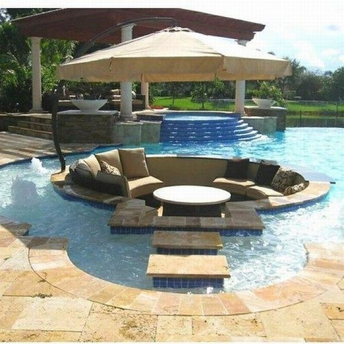 Centered Conversation Social Pit -Sunken Sitting Areas to Fit Your Modern Mansion in the swimming pool