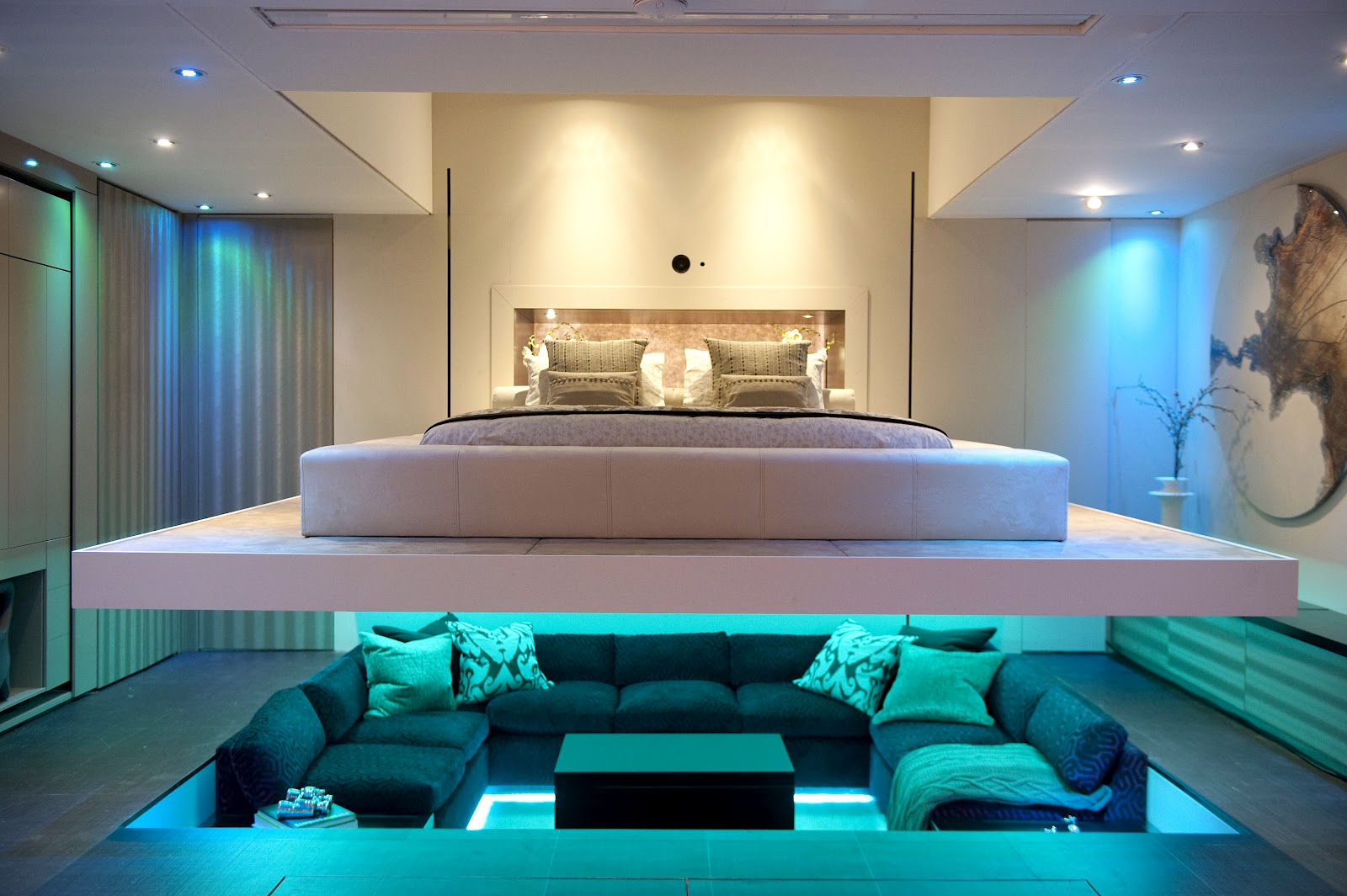 small bedroom interior design which hides a Centered Conversation Social Pit -Sunken Sitting Areas to Fit Your Modern Mansion