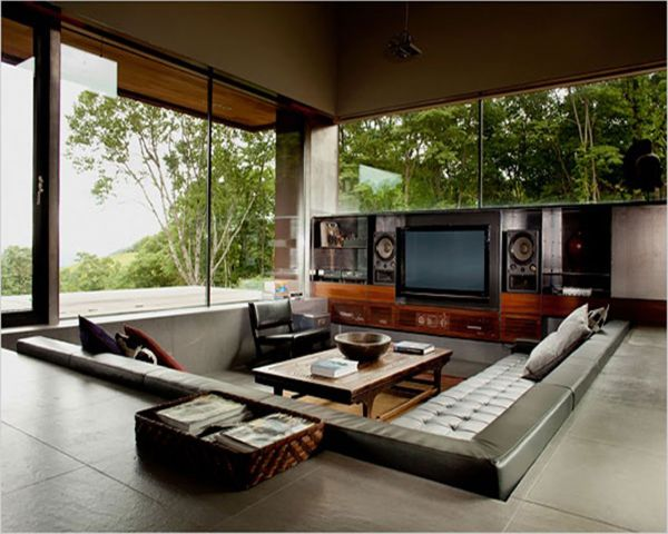 sunken leather high tech cinema area Centered Conversation Social Pit -Sunken Sitting Areas to Fit Your Modern Mansion