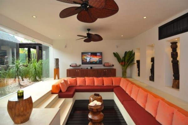 colorful breezy Centered Conversation Social Pit -Sunken Sitting Areas to Fit Your Modern Mansion