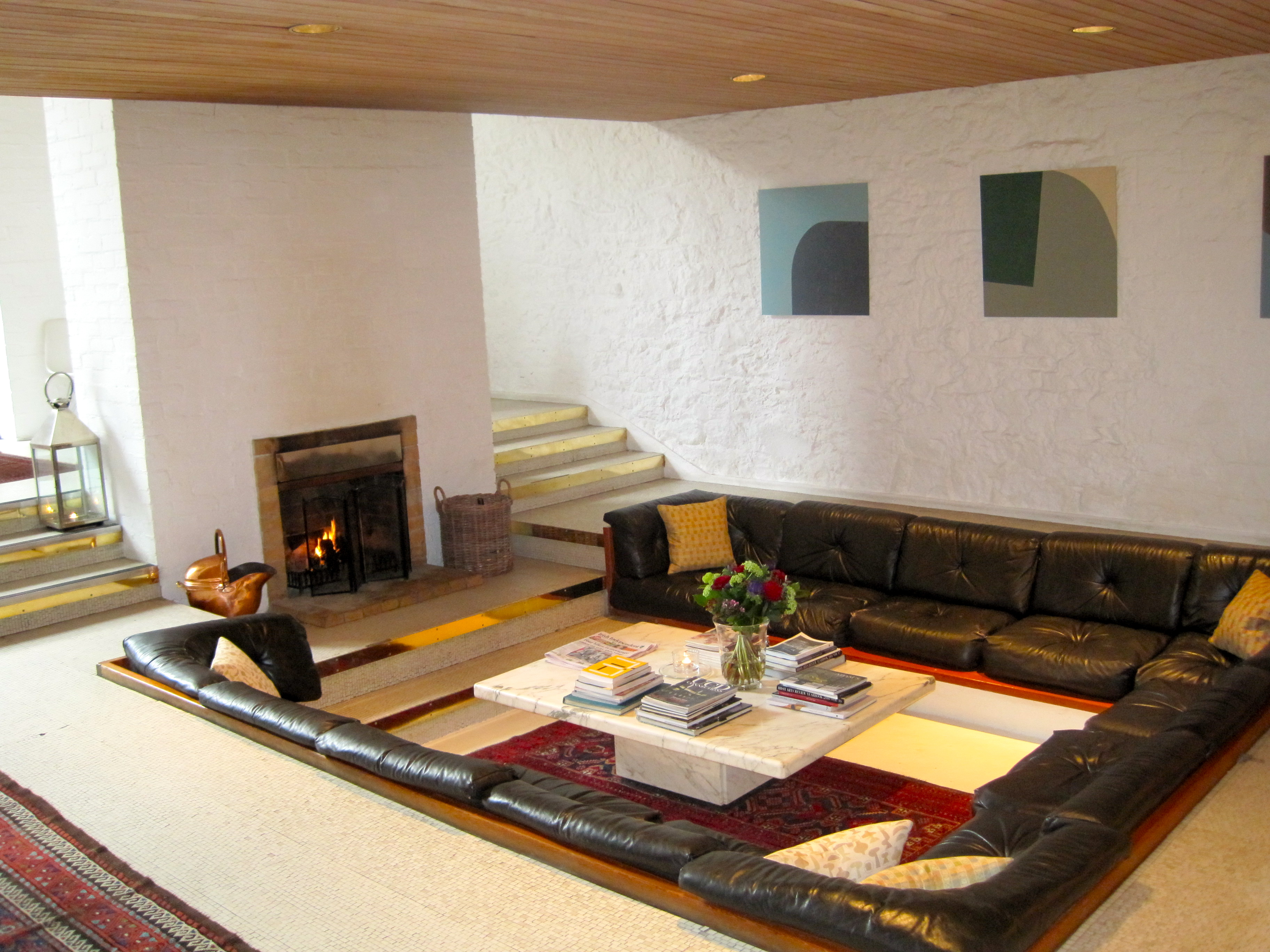 classic leather Centered Conversation Social Pit -Sunken Sitting Areas to Fit Your Modern Mansion