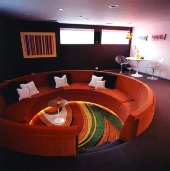 red colorfulCentered Conversation Social Pit -Sunken Sitting Areas to Fit Your Modern Mansion