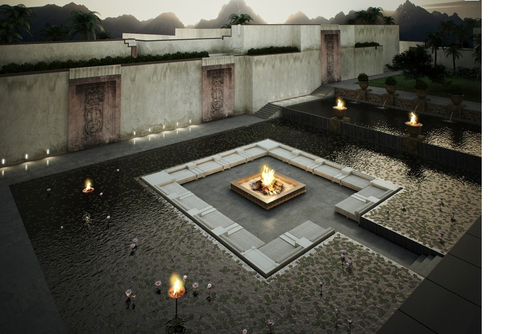 swimming pool Centered Conversation Social Pit -Sunken Sitting Areas to Fit Your Modern Mansion
