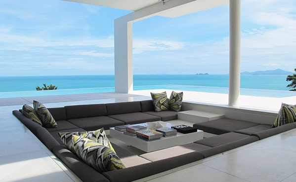 ocean view Centered Conversation Social Pit -Sunken Sitting Areas to Fit Your Modern Mansion