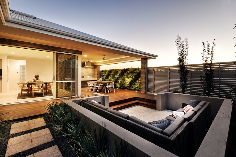 exterior Centered Conversation Social Pit -Sunken Sitting Areas to Fit Your Modern Mansion