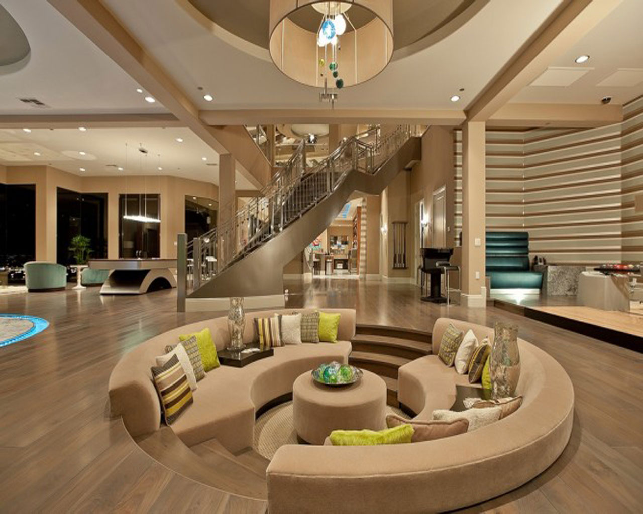 Centered Conversation Social Pit -Sunken Sitting Areas to Fit Your Modern Mansion