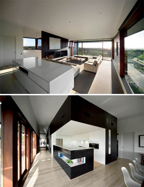 black and white interior design Cliff View Dream Home with Huge Cantilevers in Contemporary Style by JCB Architects