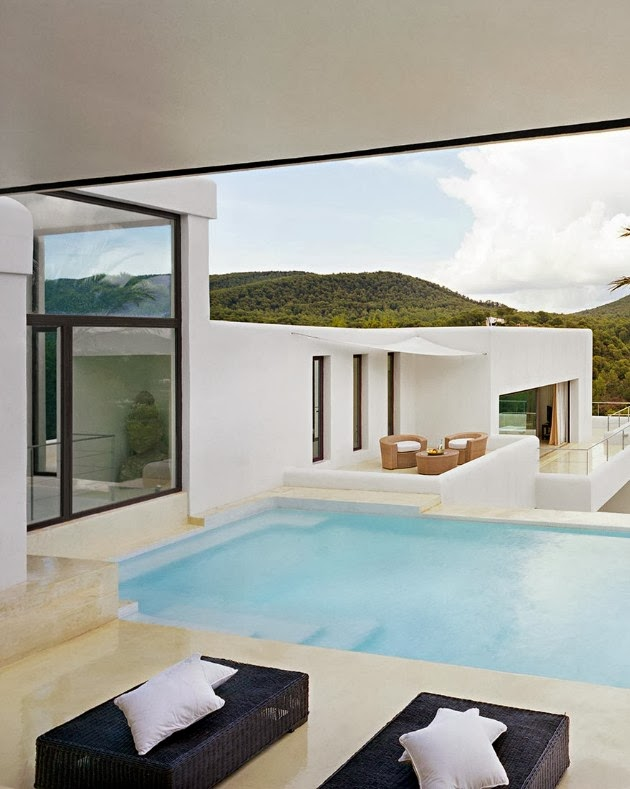 infinity swimming pool in the backyard landscaping Cliff View Modern Ibiza Dream Home Envisioned by Jaime Serra in Spain