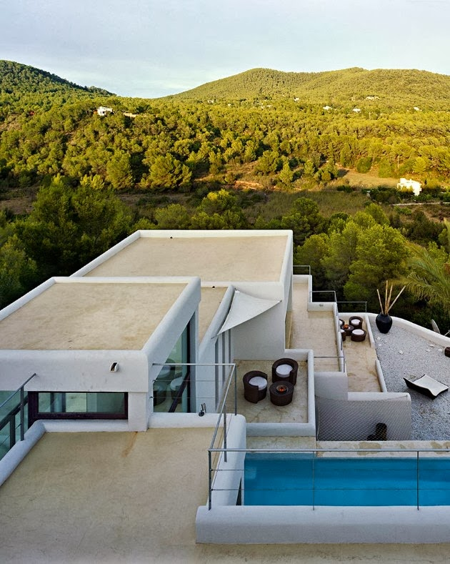 aerial view of the Cliff View Modern Ibiza Dream Home Envisioned by Jaime Serra in Spain