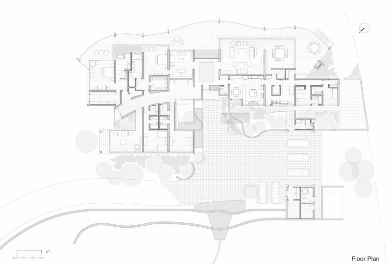 floor plan blueprint section plane trough Cliff-View-Modern-Mansion-Lo-Curro-House-in-Chile-by-Peñafiel-Arquitectos-homesthetics