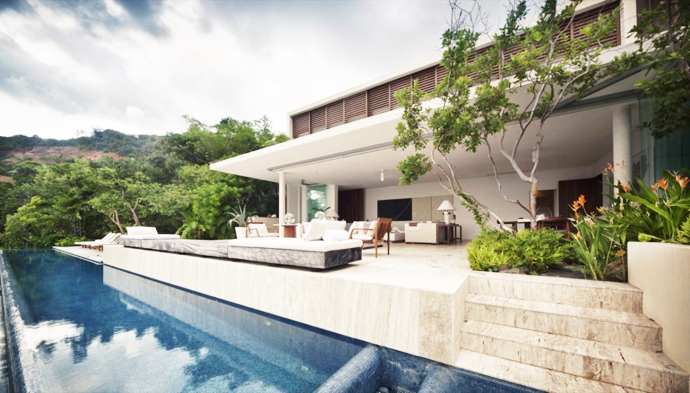 patio errace with infinity swimming pool Cliff View Modern Mansions with Multiple Terraces Overlooking the Beach- Finestre Villas by CC Arquitectos