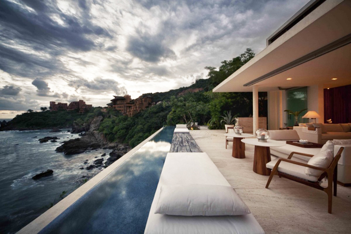 patio terrace with infinity swimming pool