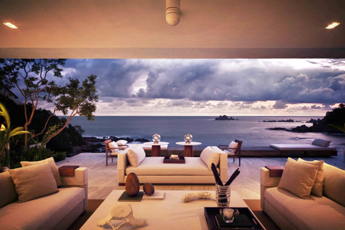 living room view Cliff View Modern Mansions with Multiple Terraces Overlooking the Beach- Finestre Villas by CC Arquitectos