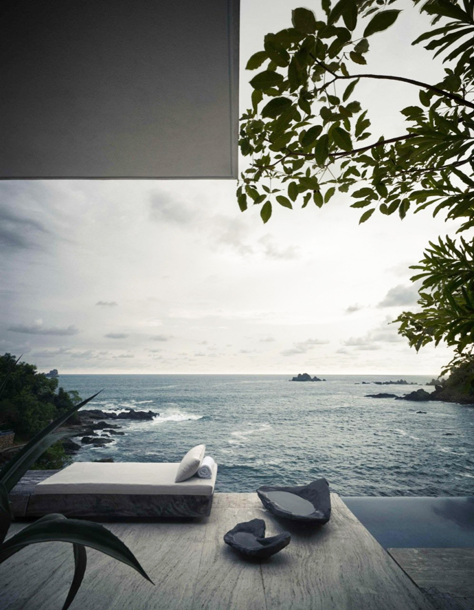 view from the bedroom of the Cliff View Modern Mansions with Multiple Terraces Overlooking the Beach- Finestre Villas by CC Arquitectos