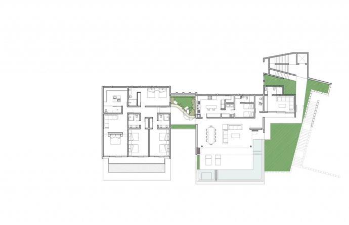 blueprint floor plan ground floor Cliff View Modern Mansions with Multiple Terraces Overlooking the Beach- Finestre Villas by CC Arquitectos