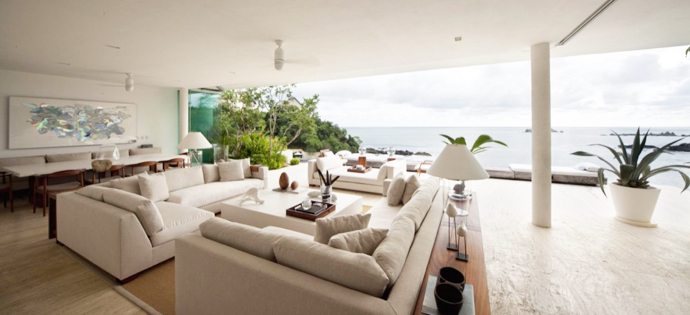 white and back living room interior design Cliff View Modern Mansions with Multiple Terraces Overlooking the Beach- Finestre Villas by CC Arquitectos