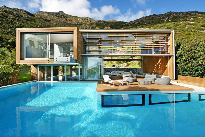 main facade view Cliff View Modern Spa House in Cape Town, South Africa by Metropolis Design