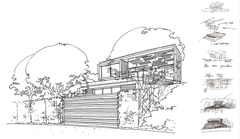 concept sketch Cliff View Modern Spa House in Cape Town, South Africa by Metropolis Design