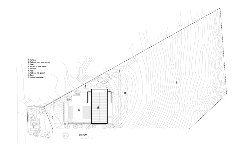 floor plan blueprint Cliff View Modern Spa House in Cape Town, South Africa by Metropolis Design