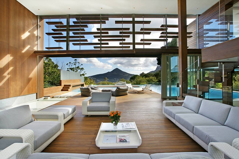 White Living Room Interior Design Opening Up To The Surrounding SCliff View  Modern Spa House In
