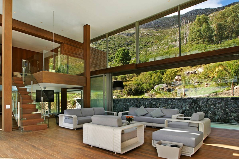 Black And White Interior Design With Expansive Views Cliff View Modern Spa  House In Cape Town