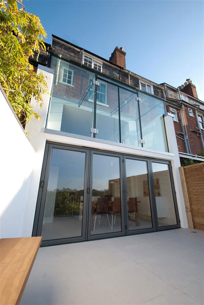 all glass Clifton View Mansion Glass Extension in England by AR Design Studio