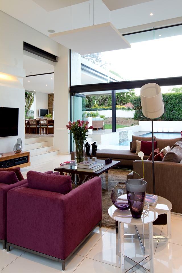 purple living room interior design Dream Home Close to Achieving Perfection- House Mosi by  Nico van der Meulen Architects