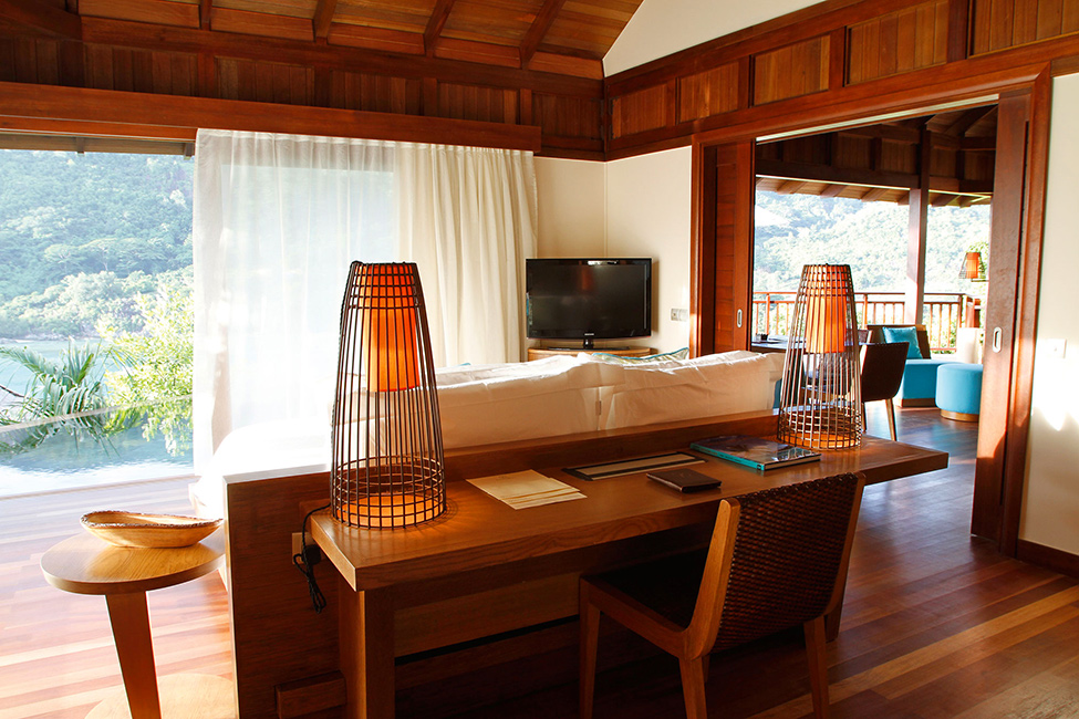 desk by the bed design Ephelia Resort in Seychelles -Living Large in a Drop of Heaven
