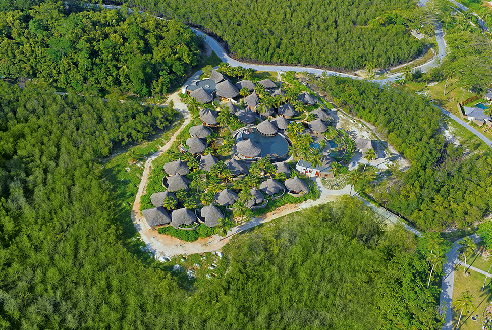 aerial view of the Ephelia Resort in Seychelles -Living Large in a Drop of Heaven