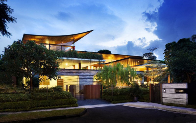 exterior pedestrian view over the Extraordinary Luxurious Modern Mansion Embedded in Vegetation- The Willow House by Guz Architects homesthetics dream home (1)