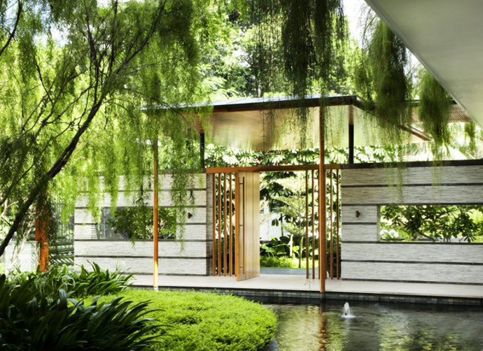 entrance Extraordinary Luxurious Modern Mansion Embedded in Vegetation- The Willow House by Guz Architects homesthetics dream home (1)