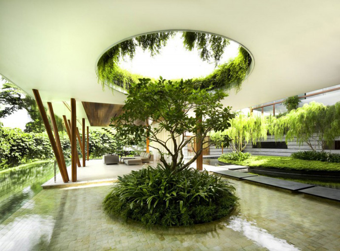 inside vegetation Extraordinary Luxurious Modern Mansion Embedded in Vegetation- The Willow House by Guz Architects homesthetics dream home (1)