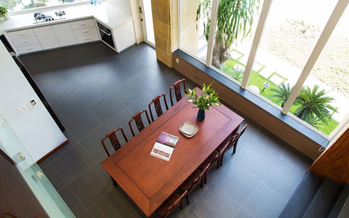 dinning room seen from above F2 Modern Luxurious Villa by Dang Duc Hoa-Block Architects in Vietnam
