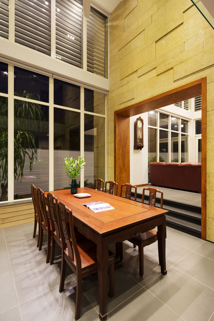 carved wood dinning room F2 Modern Luxurious Villa by Dang Duc Hoa-Block Architects in Vietnam