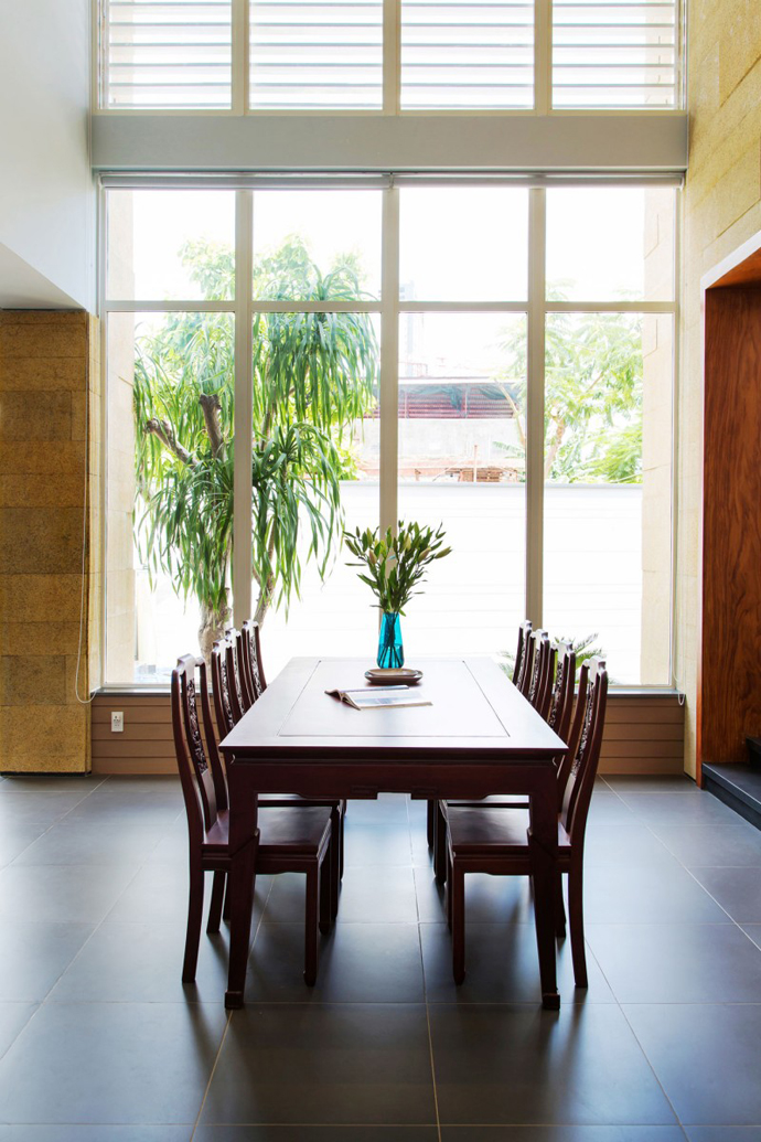 dinning room of the F2 Modern Luxurious Villa by Dang Duc Hoa-Block Architects in Vietnam
