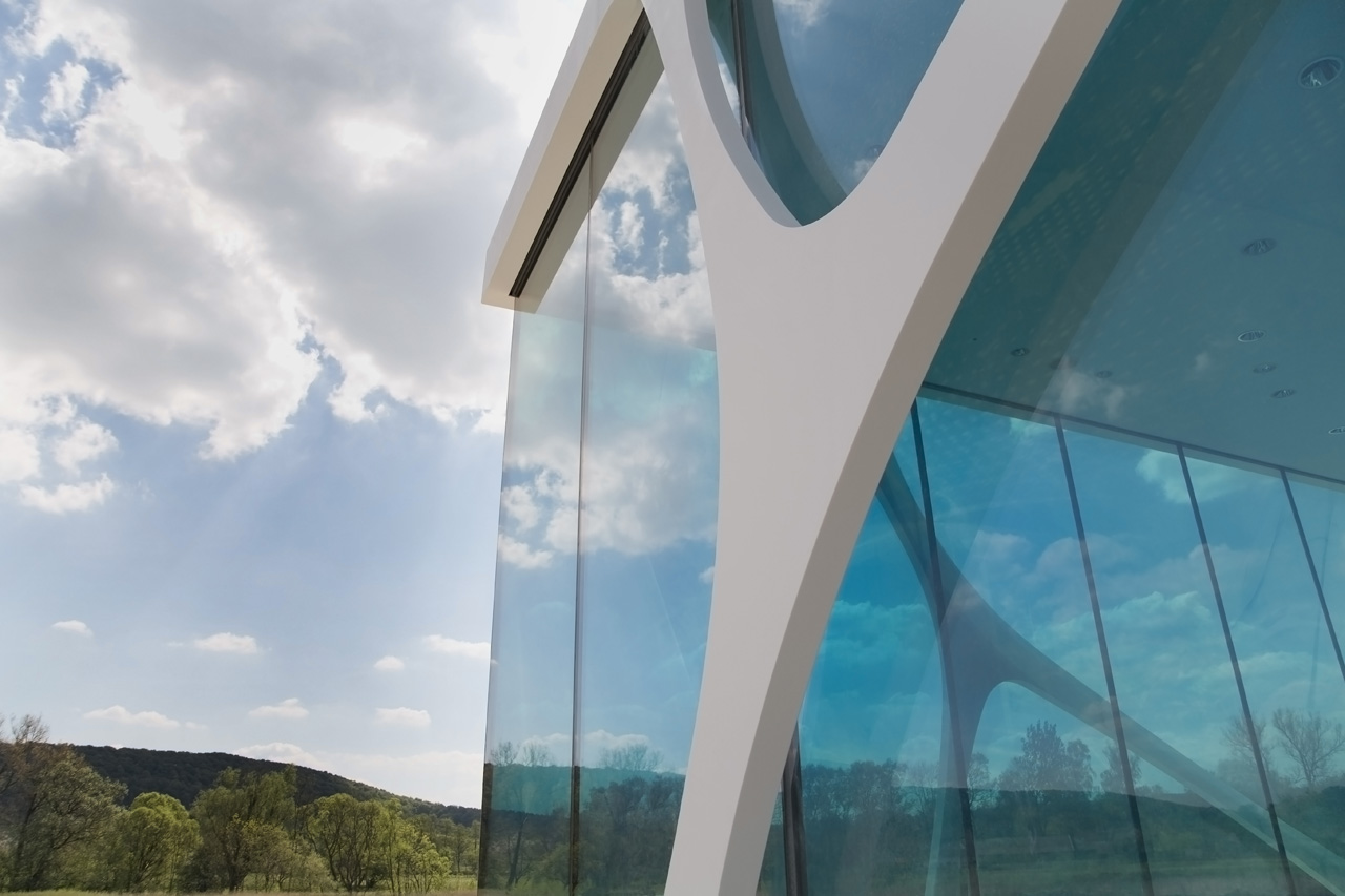 detail shot Fluid and Organic Modern Architecture - Leonardo Glass Cube in Bad Driburg by 3Deluxe